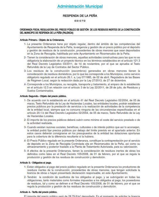 Ordenanza Fiscal Reguladora del precio público de gestión de los residuos inertes de la construcción del municipios de Respenda de la Peña